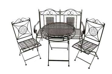 Bezaubernde Sitzgarnitur Santos aus Metall klappbar 4-tlg. - Gartenmöbel Sitzgarnitur