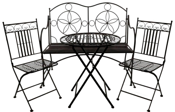 Wertvolle Sitzgarnitur Paris aus Metall 4-tlg. klappbar - Gartenmöbel Sitzgarnitur
