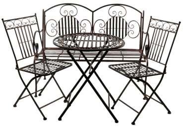 Glänzende Sitzgarnitur Culta aus Metall 4-tlg. klappbar - Gartenmöbel Sitzgarnitur